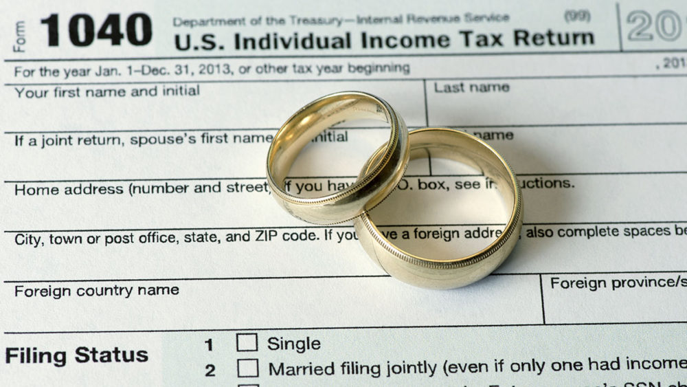 Wedding rings on income tax return.